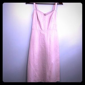 JCrew fitted pink day dress. Long length, slimming